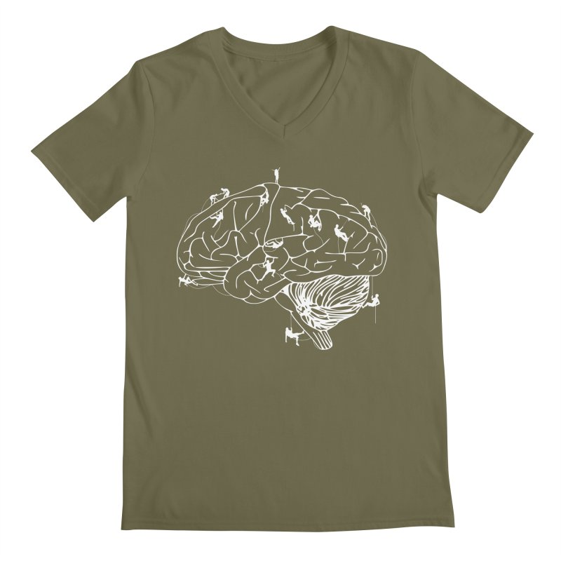 Climbing On The Brain Men's V-Neck by Justin Tapp's Artist Shop