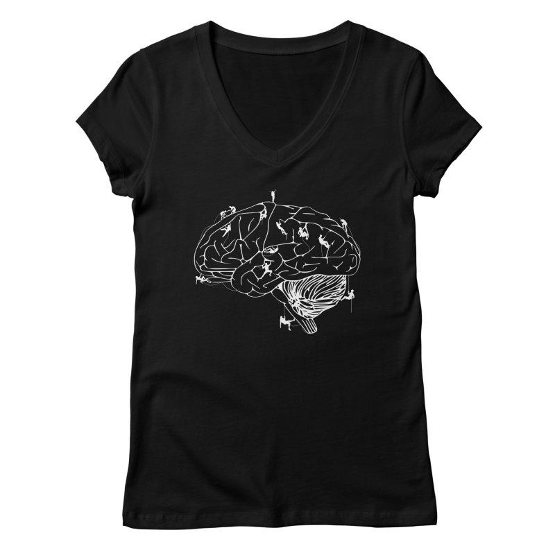 Climbing On The Brain Women's Regular V-Neck by Justin Tapp's Artist Shop