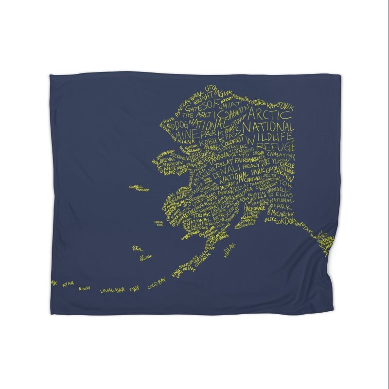 Alaska: Gold and Blue Home Fleece Blanket Blanket by Justin Tapp's Artist Shop