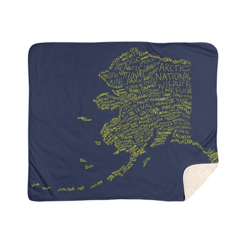 Alaska: Gold and Blue Home Sherpa Blanket Blanket by Justin Tapp's Artist Shop