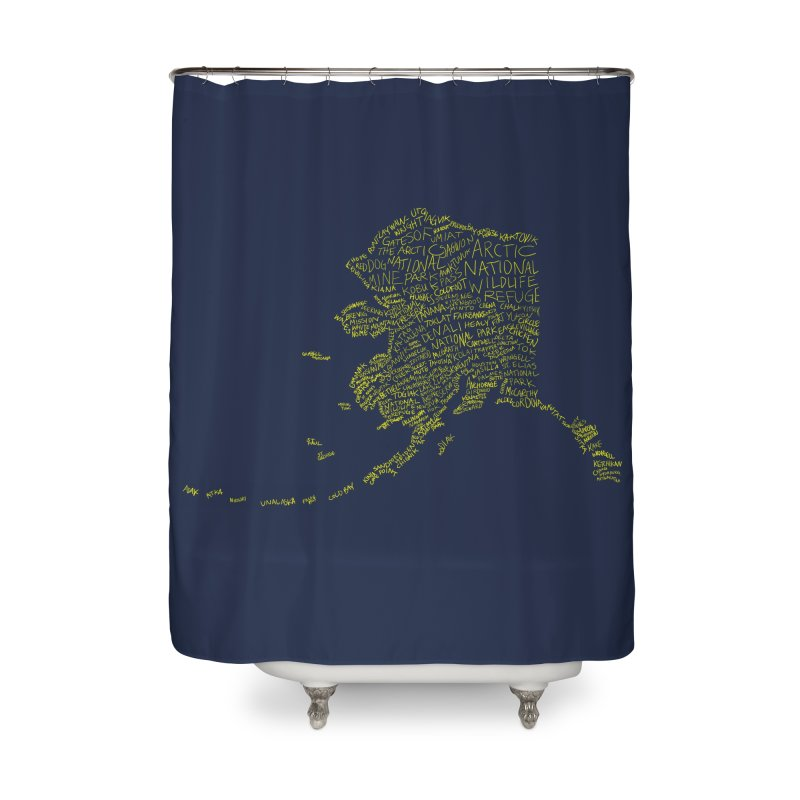 Alaska: Gold and Blue Home Shower Curtain by Justin Tapp's Artist Shop