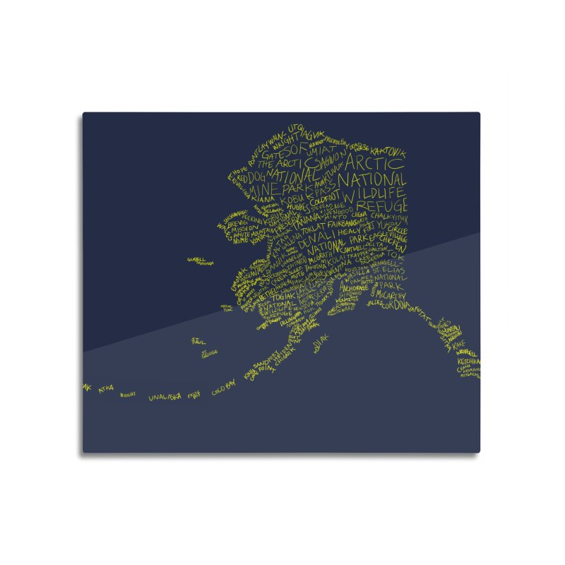 Alaska: Gold and Blue Home Mounted Aluminum Print by Justin Tapp's Artist Shop