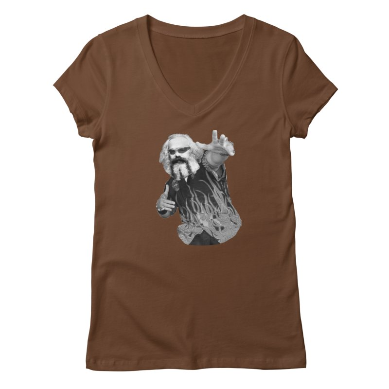 Karl Marx Fieri Women's V-Neck by Justin Tapp's Artist Shop