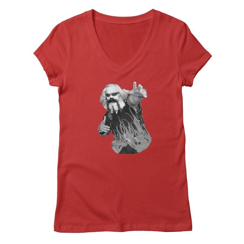 Karl Marx Fieri Women's V-Neck by Justin Tapp's Artist Shop
