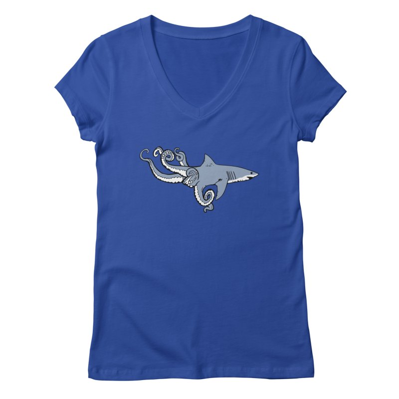 Sharktopus Women's V-Neck by Justin Tapp's Artist Shop