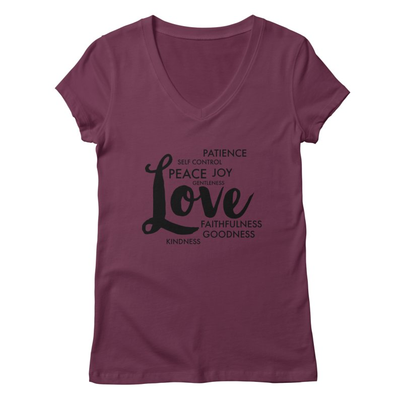 Fruits of the Spirit Women's V-Neck by Justin Whitcomb's Artist Shop