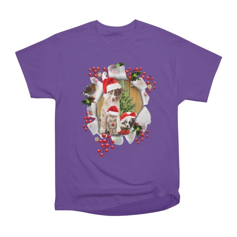 Housepets Christmas Tshirt Women's Heavyweight Unisex T-Shirt by NadineMay Artist Shop