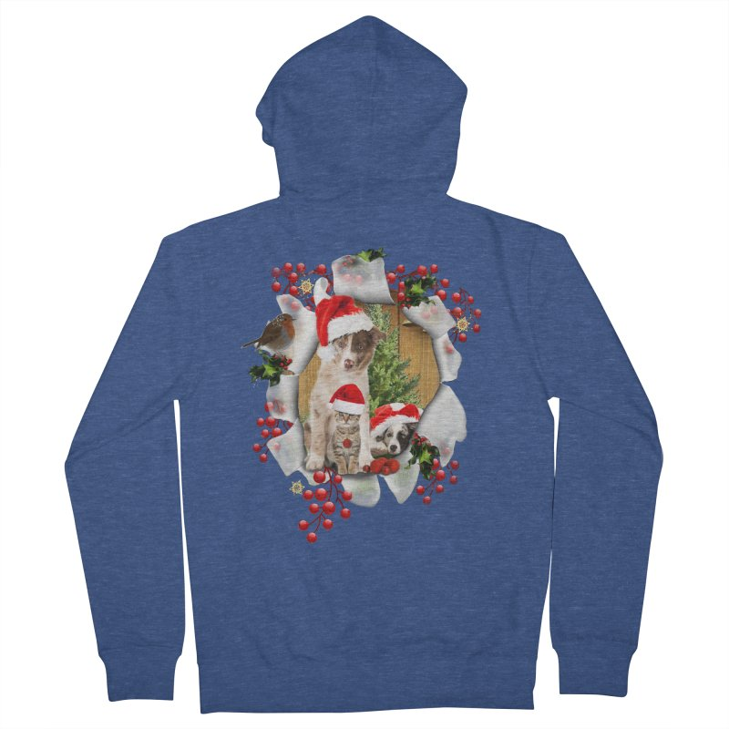 Housepets Christmas Tshirt Women's Zip-Up Hoody by NadineMay Artist Shop