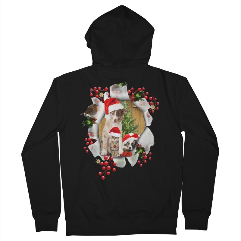 Housepets Christmas Tshirt Women's French Terry Zip-Up Hoody by NadineMay Artist Shop