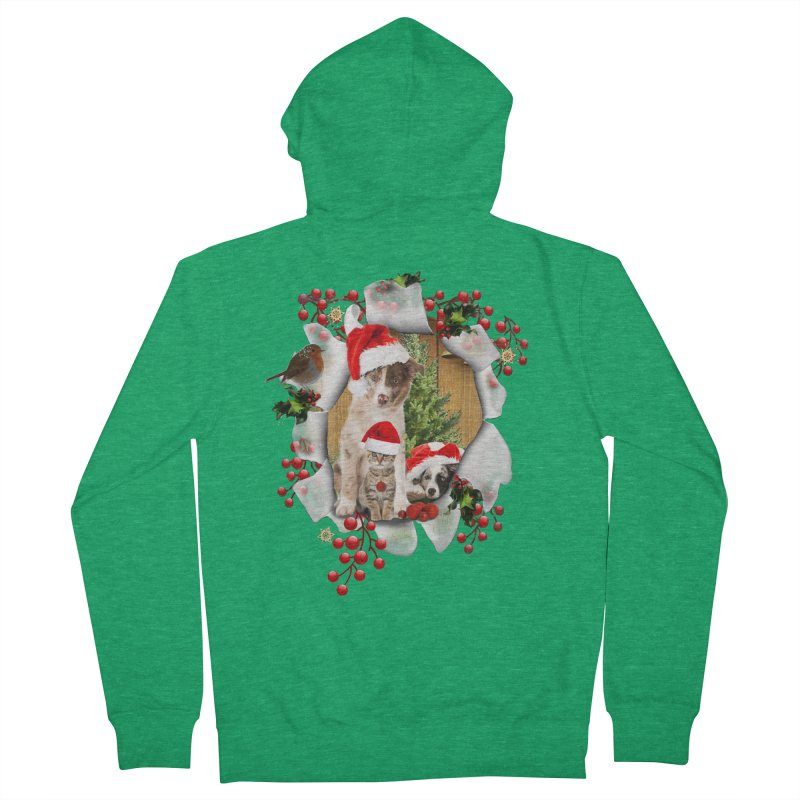 Housepets Christmas Tshirt Men's French Terry Zip-Up Hoody by NadineMay Artist Shop