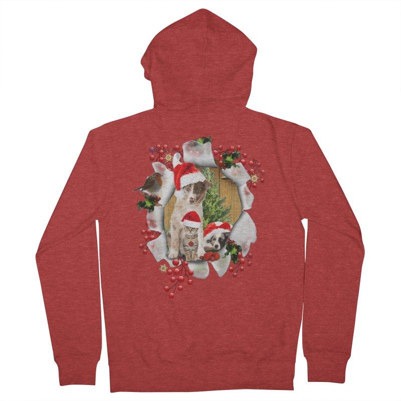 Housepets Christmas Tshirt Men's Zip-Up Hoody by NadineMay Artist Shop