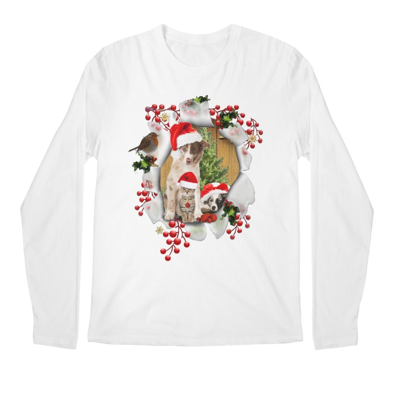 Housepets Christmas Tshirt Men's Longsleeve T-Shirt by NadineMay Artist Shop