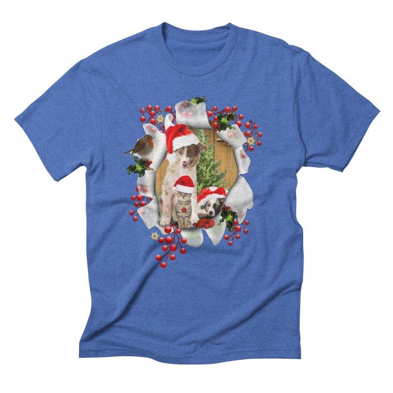Housepets Christmas Tshirt Men's Triblend T-Shirt by NadineMay Artist Shop