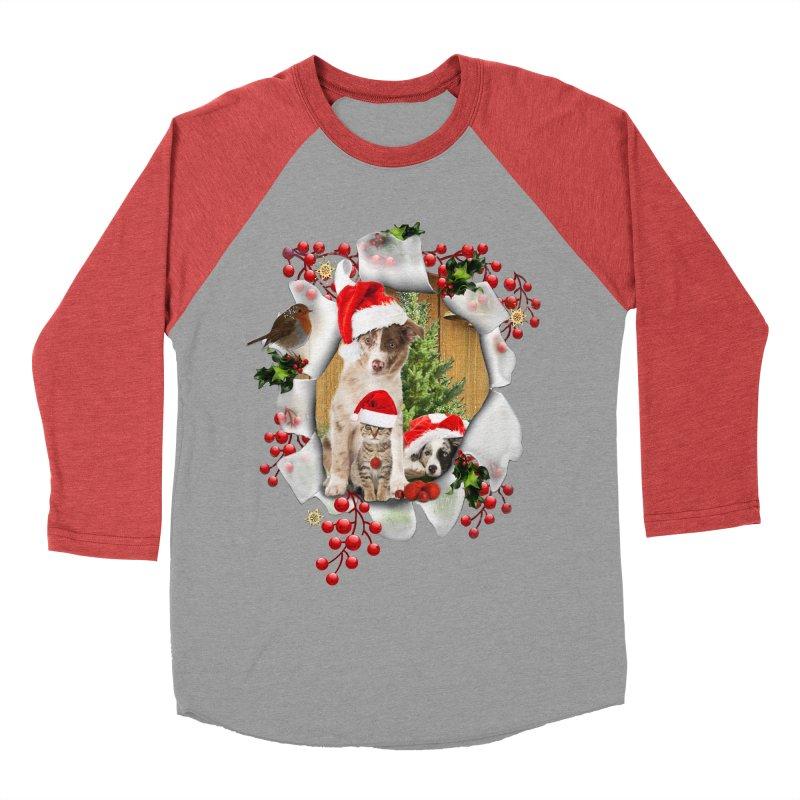 Housepets Christmas Tshirt Women's Baseball Triblend T-Shirt by NadineMay Artist Shop