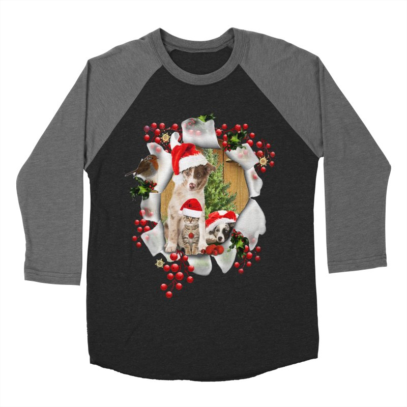 Housepets Christmas Tshirt Women's Baseball Triblend Longsleeve T-Shirt by NadineMay Artist Shop