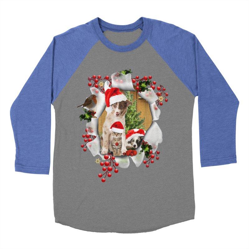 Housepets Christmas Tshirt Men's Baseball Triblend Longsleeve T-Shirt by NadineMay Artist Shop