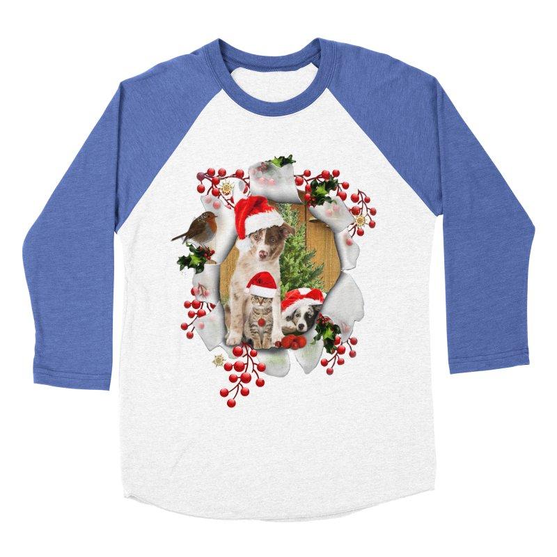 Housepets Christmas Tshirt Men's Baseball Triblend T-Shirt by NadineMay Artist Shop
