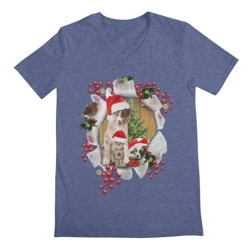 Housepets Christmas Tshirt Men's Regular V-Neck by NadineMay Artist Shop