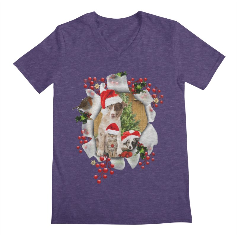 Housepets Christmas Tshirt Men's V-Neck by NadineMay Artist Shop