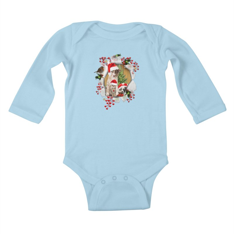 Housepets Christmas Tshirt Kids Baby Longsleeve Bodysuit by NadineMay Artist Shop
