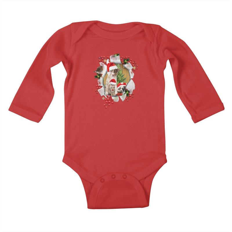 Housepets Christmas Tshirt Kids Baby Longsleeve Bodysuit by NadineMay Artist Shop