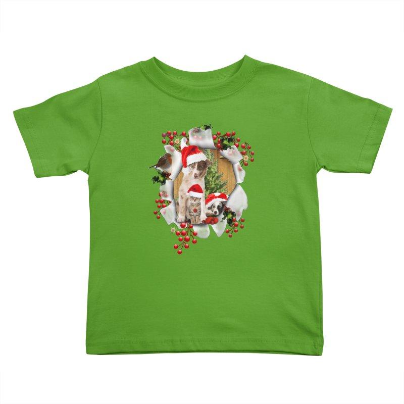 Housepets Christmas Tshirt Kids Toddler T-Shirt by NadineMay Artist Shop