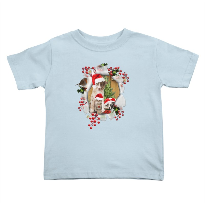 Housepets Christmas Tshirt Kids Toddler T-Shirt by NadineMay Artist Shop