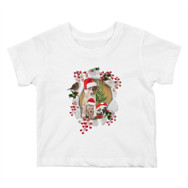 Housepets Christmas Tshirt Kids Baby T-Shirt by NadineMay Artist Shop