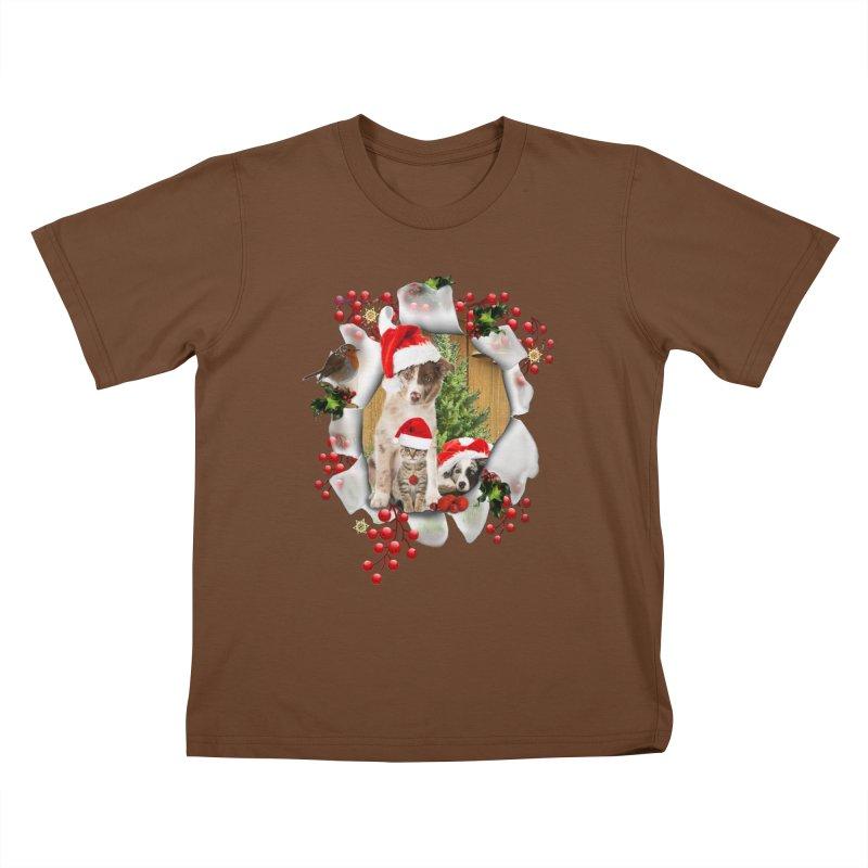 Housepets Christmas Tshirt Kids T-Shirt by NadineMay Artist Shop