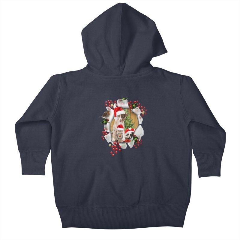 Housepets Christmas Tshirt Kids Baby Zip-Up Hoody by NadineMay Artist Shop