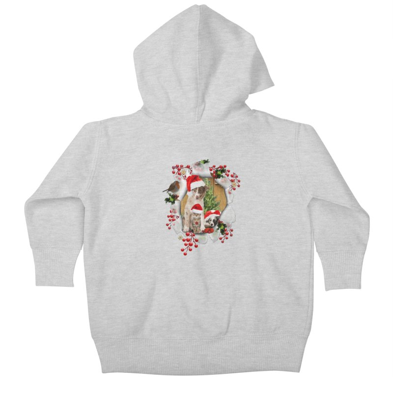 Housepets Christmas Tshirt Kids Baby Zip-Up Hoody by NadineMay Artist Shop