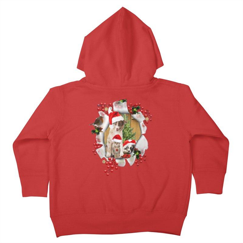 Housepets Christmas Tshirt Kids Toddler Zip-Up Hoody by NadineMay Artist Shop