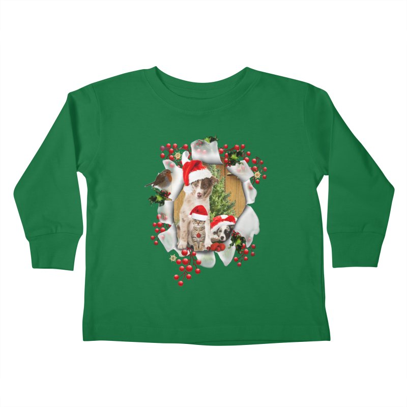 Housepets Christmas Tshirt Kids Toddler Longsleeve T-Shirt by NadineMay Artist Shop