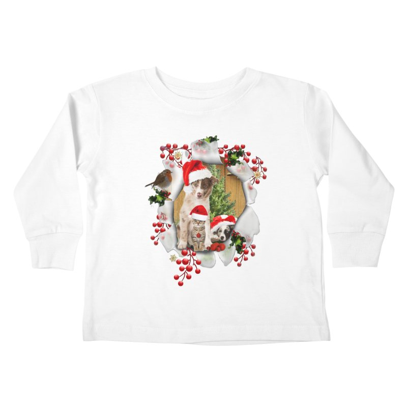 Housepets Christmas Tshirt Kids Toddler Longsleeve T-Shirt by NadineMay Artist Shop