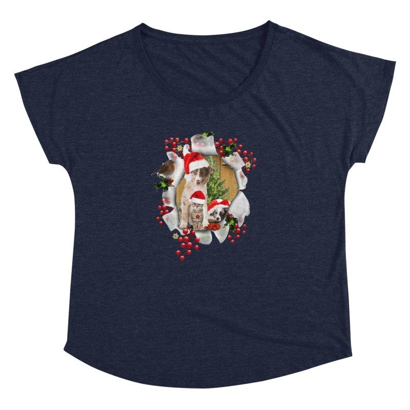 Housepets Christmas Tshirt Women's Dolman Scoop Neck by NadineMay Artist Shop
