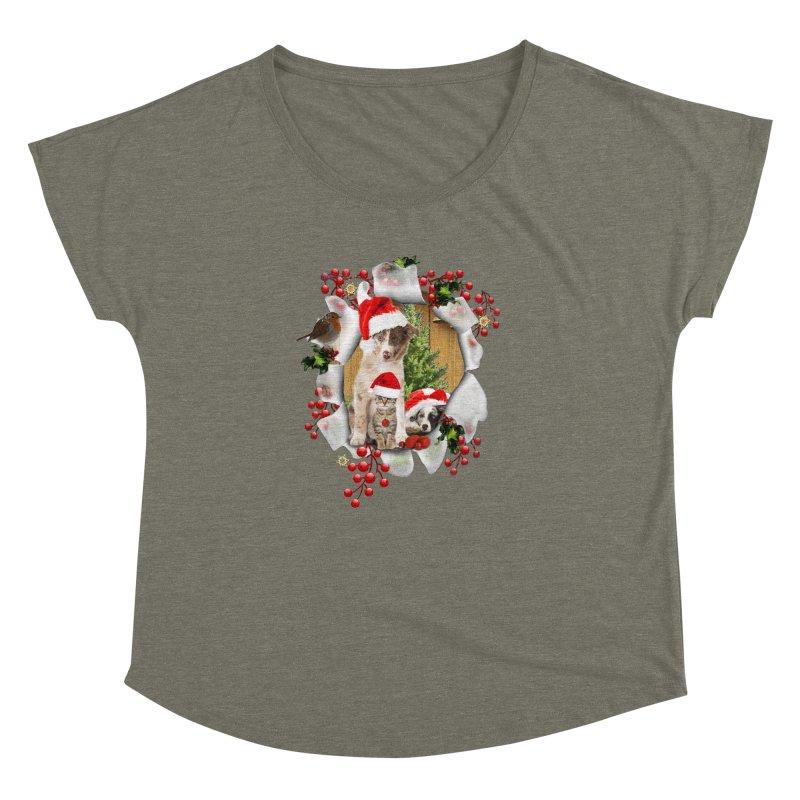 Housepets Christmas Tshirt Women's Dolman by NadineMay Artist Shop
