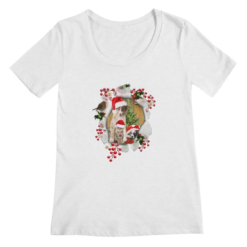 Housepets Christmas Tshirt Women's Scoopneck by NadineMay Artist Shop