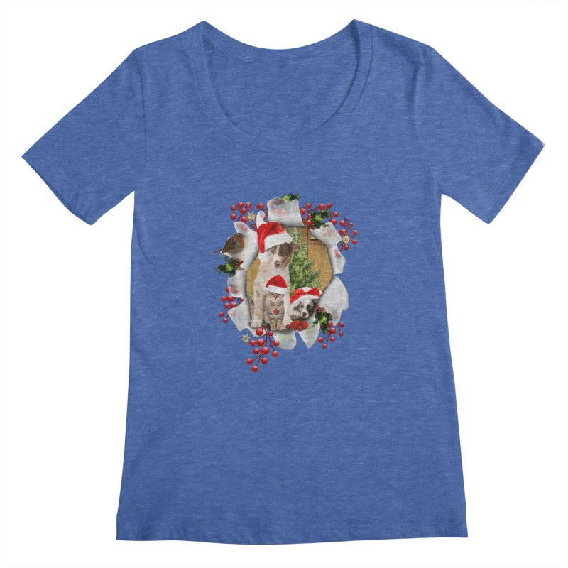 Housepets Christmas Tshirt Women's Regular Scoop Neck by NadineMay Artist Shop
