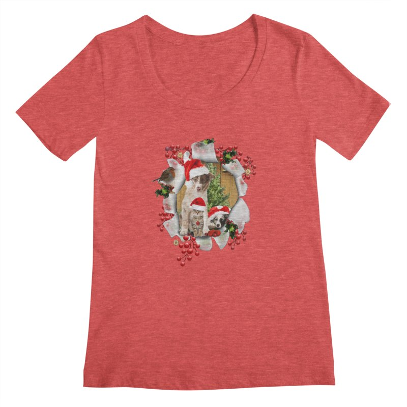Housepets Christmas Tshirt Women's Scoopneck by NadineMay Artist Shop