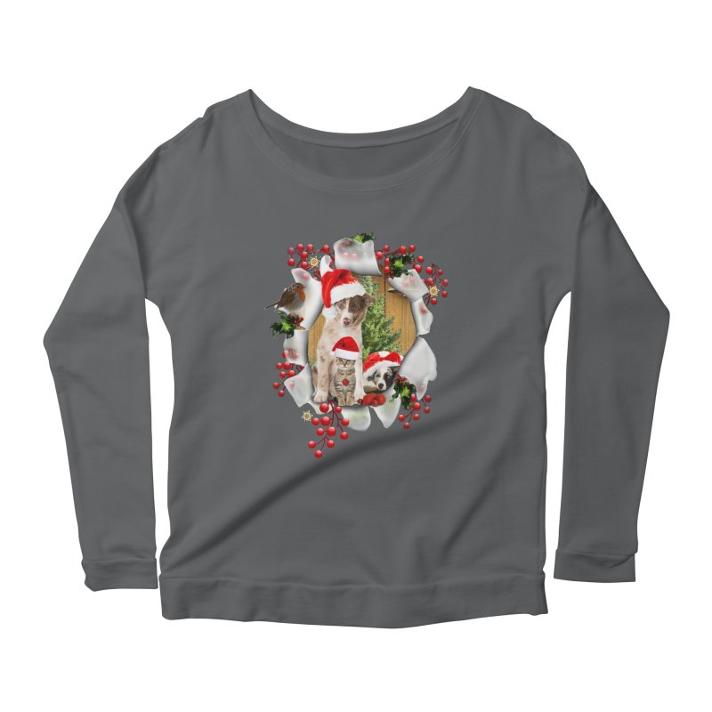 Housepets Christmas Tshirt Women's Longsleeve Scoopneck  by NadineMay Artist Shop