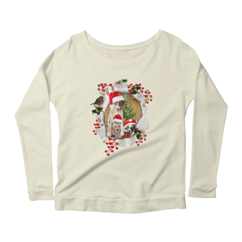 Housepets Christmas Tshirt Women's Scoop Neck Longsleeve T-Shirt by NadineMay Artist Shop