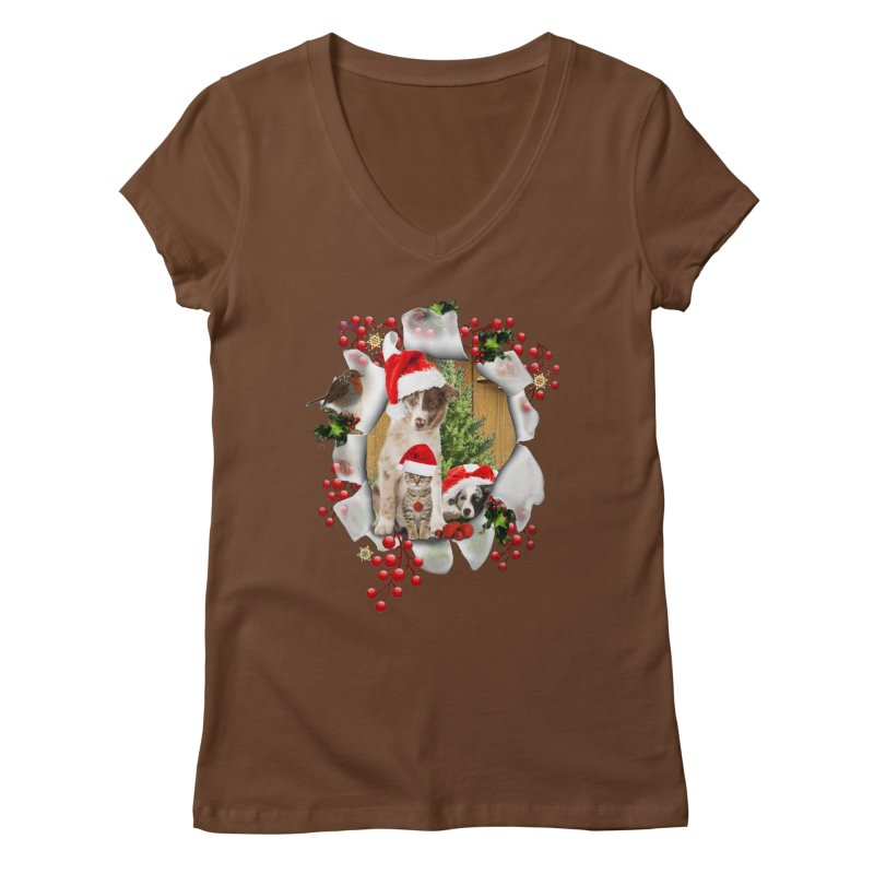 Housepets Christmas Tshirt Women's V-Neck by NadineMay Artist Shop