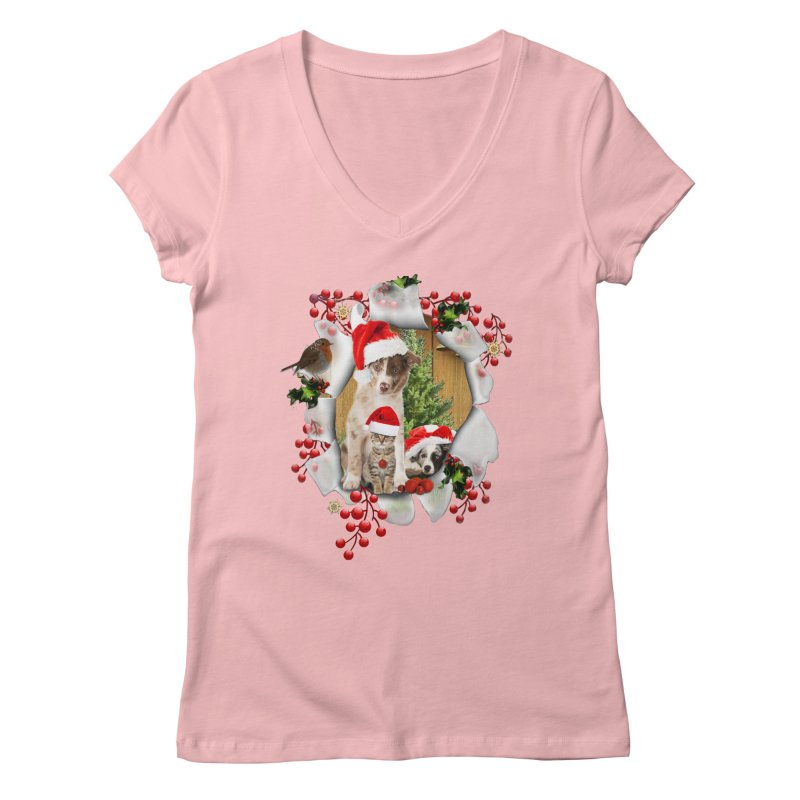 Housepets Christmas Tshirt Women's Regular V-Neck by NadineMay Artist Shop