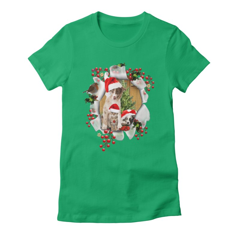 Housepets Christmas Tshirt Women's Fitted T-Shirt by NadineMay Artist Shop