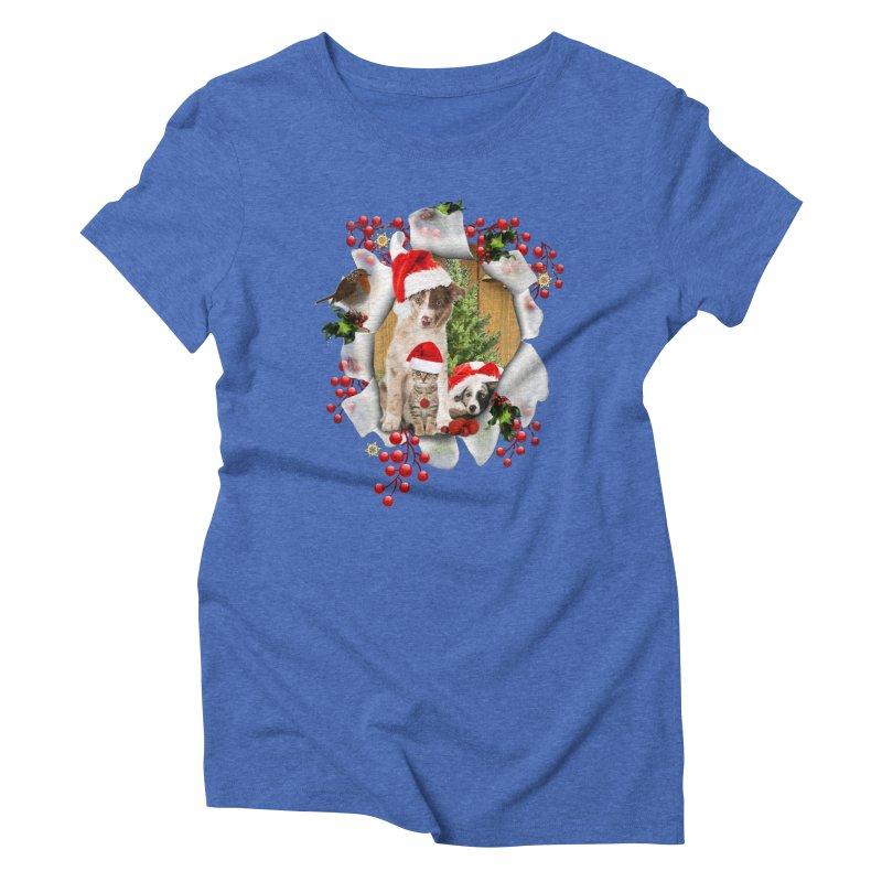 Housepets Christmas Tshirt Women's Triblend T-Shirt by NadineMay Artist Shop
