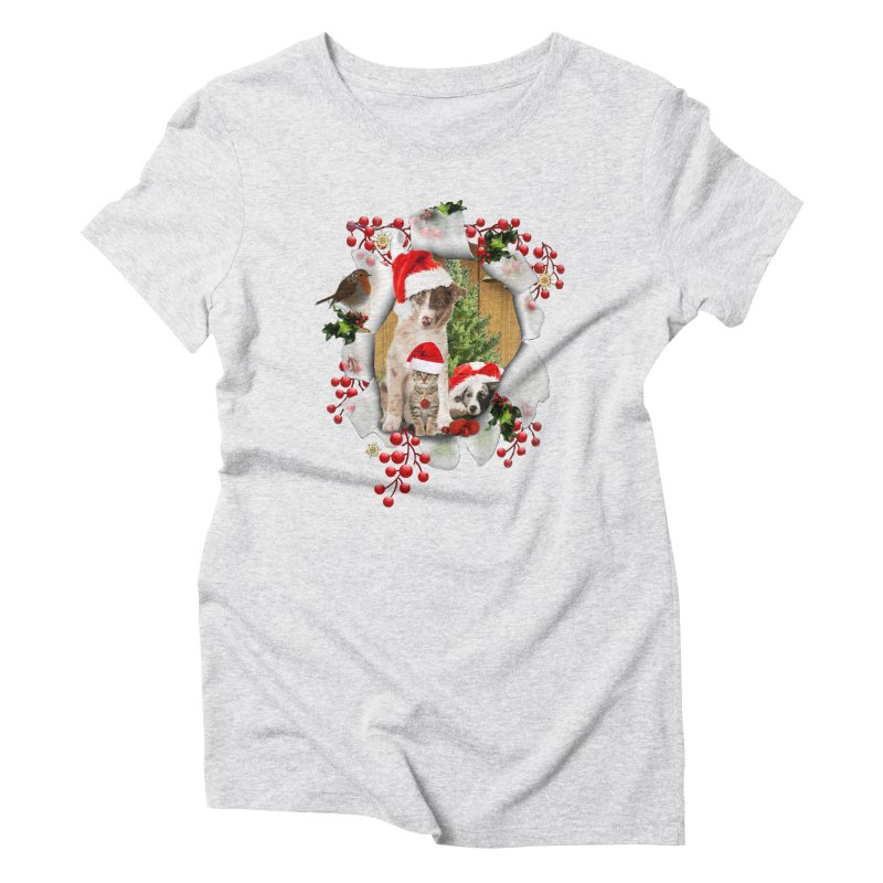 Housepets Christmas Tshirt Women's Triblend T-Shirt by NadineMay Artist Shop