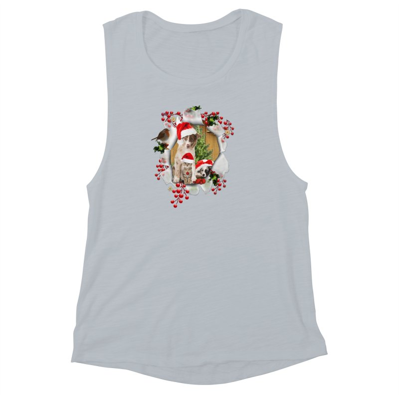 Housepets Christmas Tshirt Women's Muscle Tank by NadineMay Artist Shop
