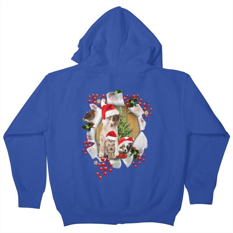 Housepets Christmas Tshirt Kids Zip-Up Hoody by NadineMay Artist Shop