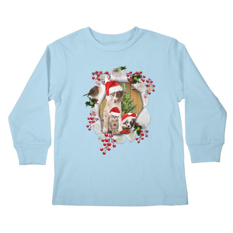 Housepets Christmas Tshirt Kids Longsleeve T-Shirt by NadineMay Artist Shop
