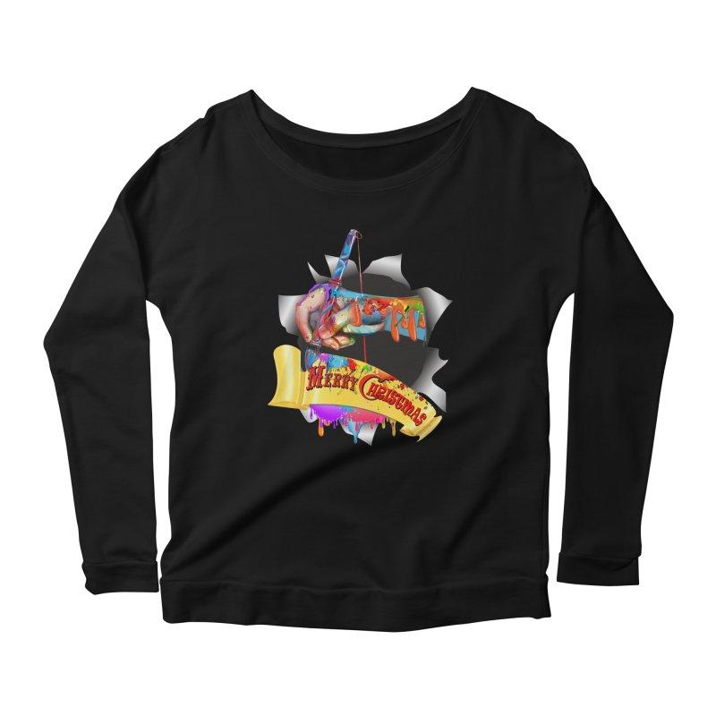 Marry Christmas Artist Women's Scoop Neck Longsleeve T-Shirt by NadineMay Artist Shop